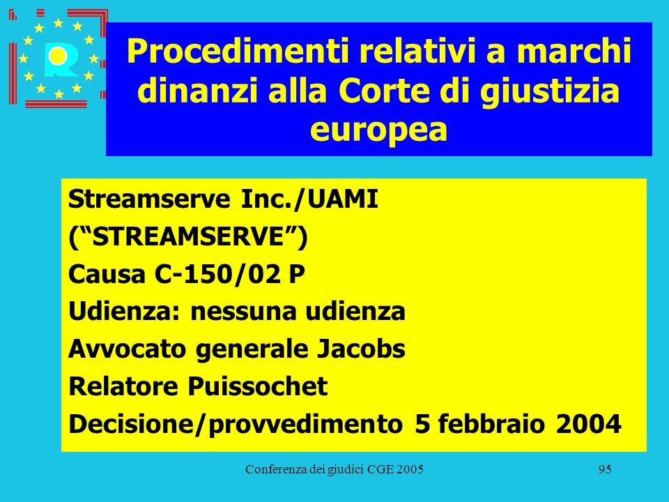 Conferenza dei giudici CGE 200595 Procedimenti relativi a marchi dinanzi alla Corte di giustizia europea Streamserve Inc./UAMI (STREAMSERVE) Causa C-1