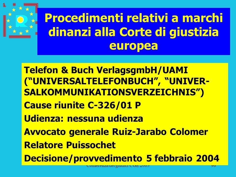Conferenza dei giudici CGE 200596 Procedimenti relativi a marchi dinanzi alla Corte di giustizia europea Telefon & Buch VerlagsgmbH/UAMI (UNIVERSALTEL