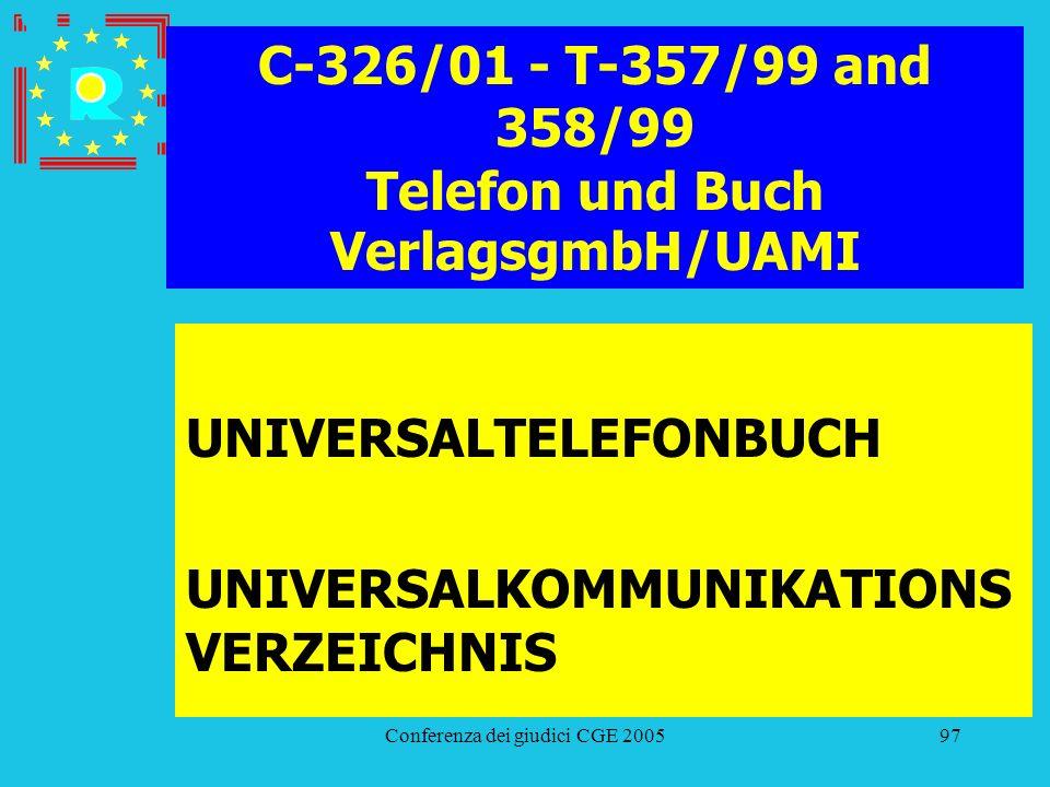 Conferenza dei giudici CGE 200597 C-326/01 - T-357/99 and 358/99 Telefon und Buch VerlagsgmbH/UAMI UNIVERSALTELEFONBUCH UNIVERSALKOMMUNIKATIONS VERZEI