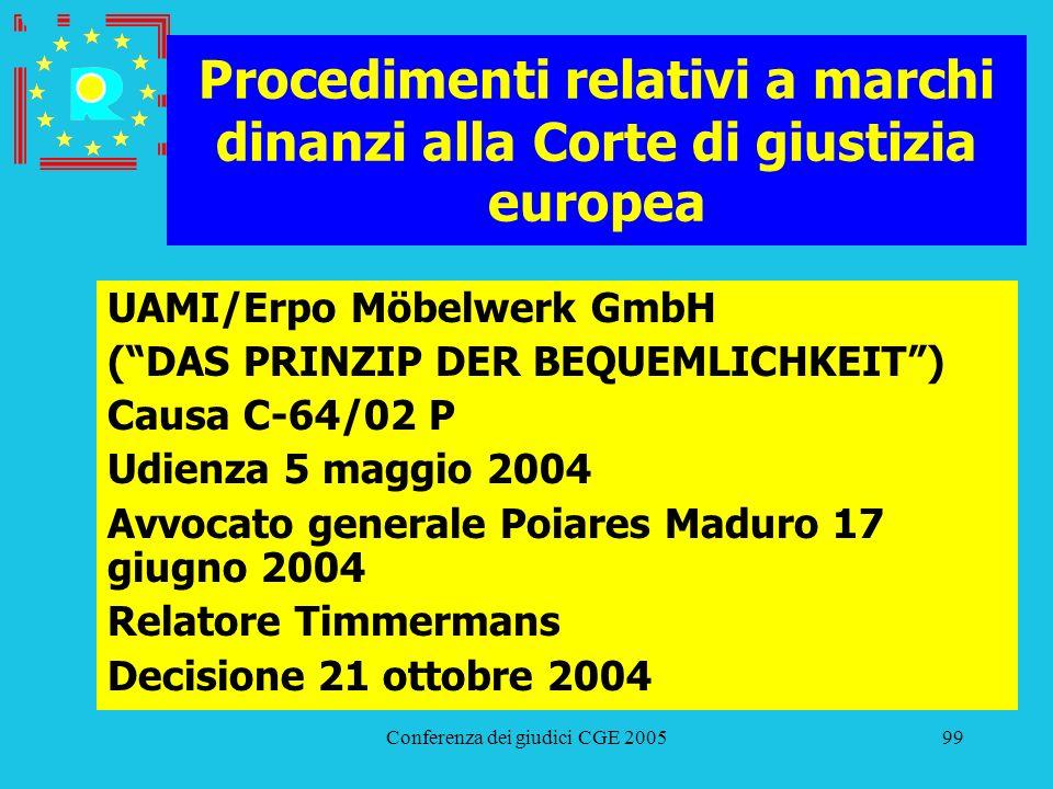 Conferenza dei giudici CGE 200599 Procedimenti relativi a marchi dinanzi alla Corte di giustizia europea UAMI/Erpo Möbelwerk GmbH (DAS PRINZIP DER BEQ