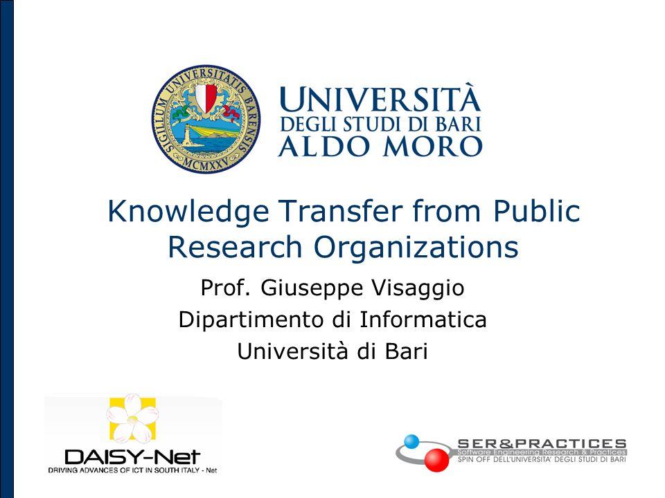 Knowledge Transfer from Public Research Organizations Prof. Giuseppe Visaggio Dipartimento di Informatica Università di Bari
