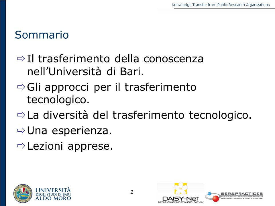 Knowledge Transfer from Public Research Organizations 2 Sommario Il trasferimento della conoscenza nellUniversità di Bari. Gli approcci per il trasfer