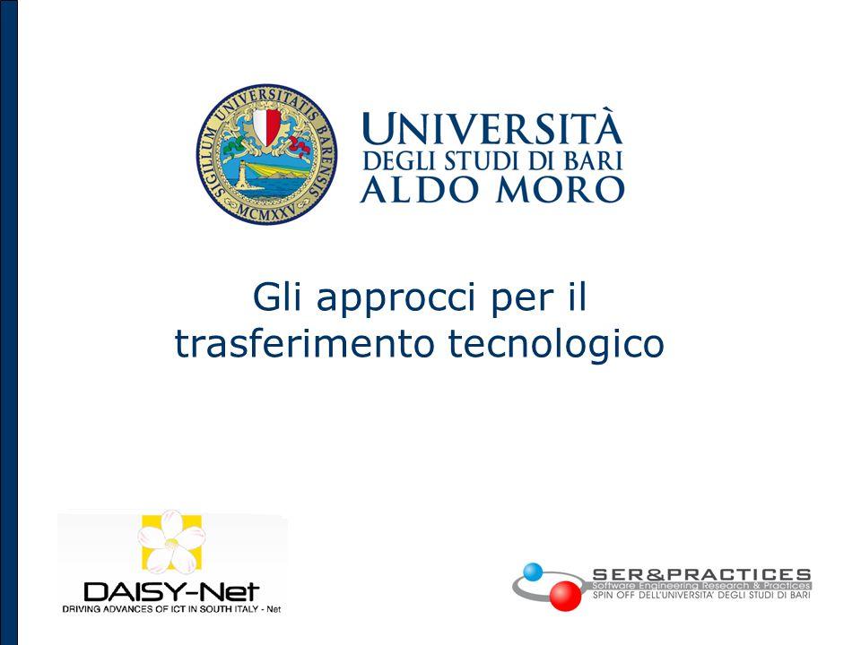 Knowledge Transfer from Public Research Organizations 7 Organismi per lInnovazione per il Trasferimento Tecnologico Organismi promossi da MIUR e/o Regione Puglia e partecipati dallUniversità di Bari: Centri di Competenza.