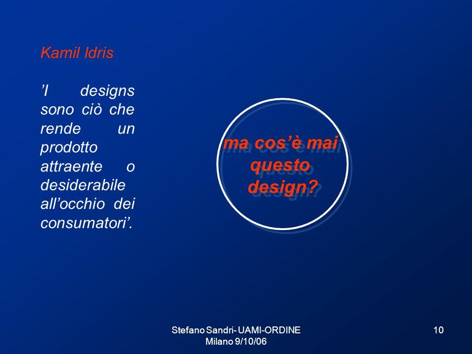 Stefano Sandri- UAMI-ORDINE Milano 9/10/06 10 Kamil Idris I designs sono ciò che rende un prodotto attraente o desiderabile allocchio dei consumatori.