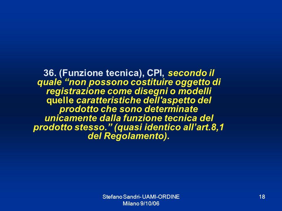 Stefano Sandri- UAMI-ORDINE Milano 9/10/06 18 36. (Funzione tecnica), CPI, secondo il quale non possono costituire oggetto di registrazione come diseg