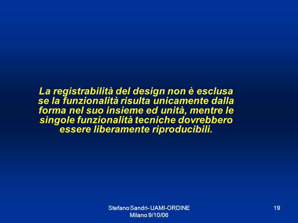Stefano Sandri- UAMI-ORDINE Milano 9/10/06 19 La registrabilità del design non è esclusa se la funzionalità risulta unicamente dalla forma nel suo ins