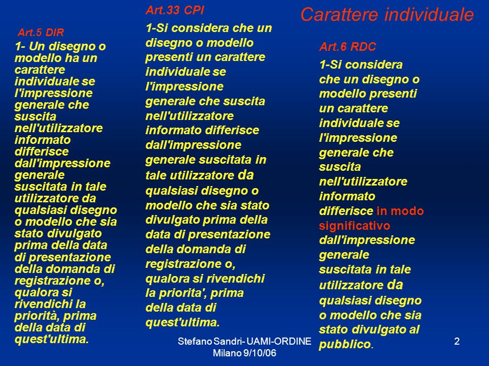 Stefano Sandri- UAMI-ORDINE Milano 9/10/06 2 Art.5 DIR 1- Un disegno o modello ha un carattere individuale se l'impressione generale che suscita nell'