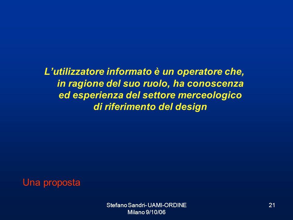 Stefano Sandri- UAMI-ORDINE Milano 9/10/06 21 Lutilizzatore informato è un operatore che, in ragione del suo ruolo, ha conoscenza ed esperienza del se