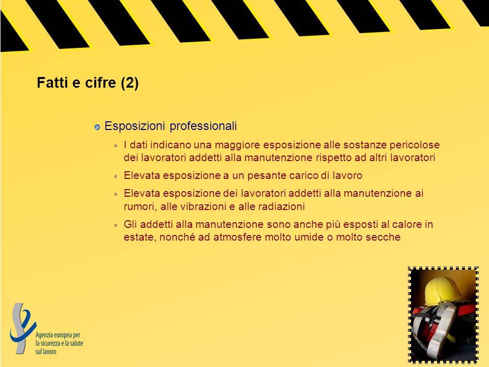 Fatti e cifre (2) Esposizioni professionali I dati indicano una maggiore esposizione alle sostanze pericolose dei lavoratori addetti alla manutenzione