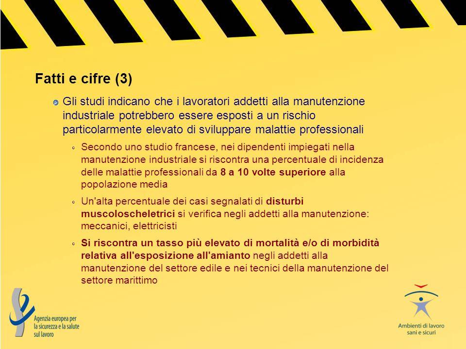 Fatti e cifre (3) Gli studi indicano che i lavoratori addetti alla manutenzione industriale potrebbero essere esposti a un rischio particolarmente ele