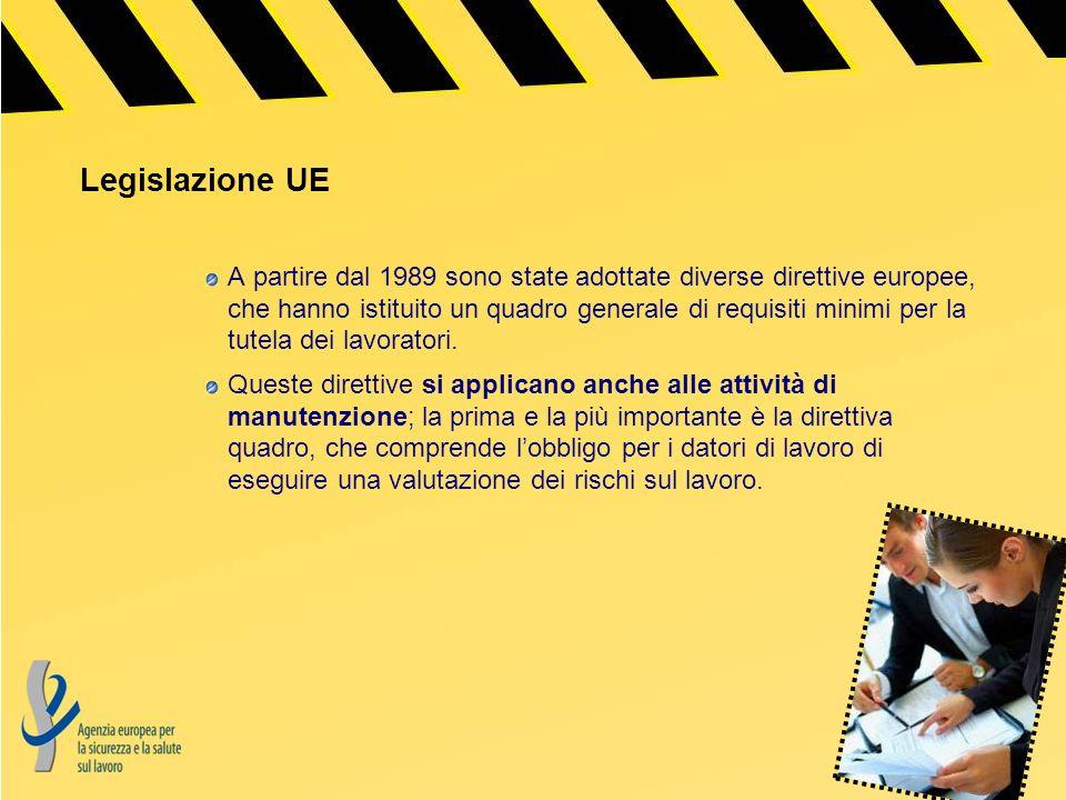 Legislazione UE A partire dal 1989 sono state adottate diverse direttive europee, che hanno istituito un quadro generale di requisiti minimi per la tu
