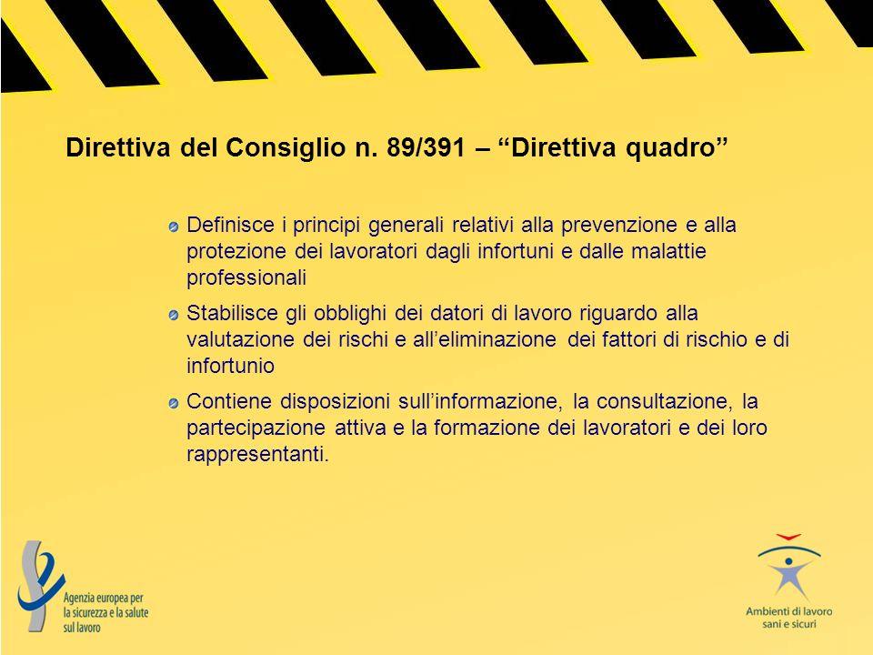 Direttiva del Consiglio n. 89/391 – Direttiva quadro Definisce i principi generali relativi alla prevenzione e alla protezione dei lavoratori dagli in
