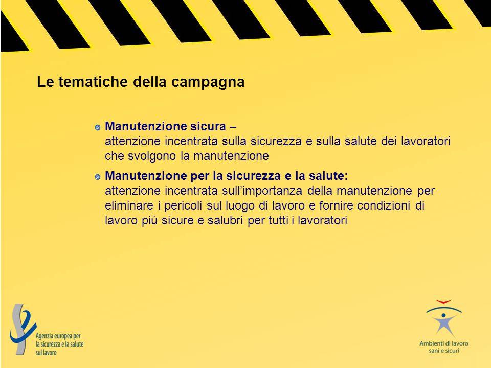 Le tematiche della campagna Manutenzione sicura – attenzione incentrata sulla sicurezza e sulla salute dei lavoratori che svolgono la manutenzione Man