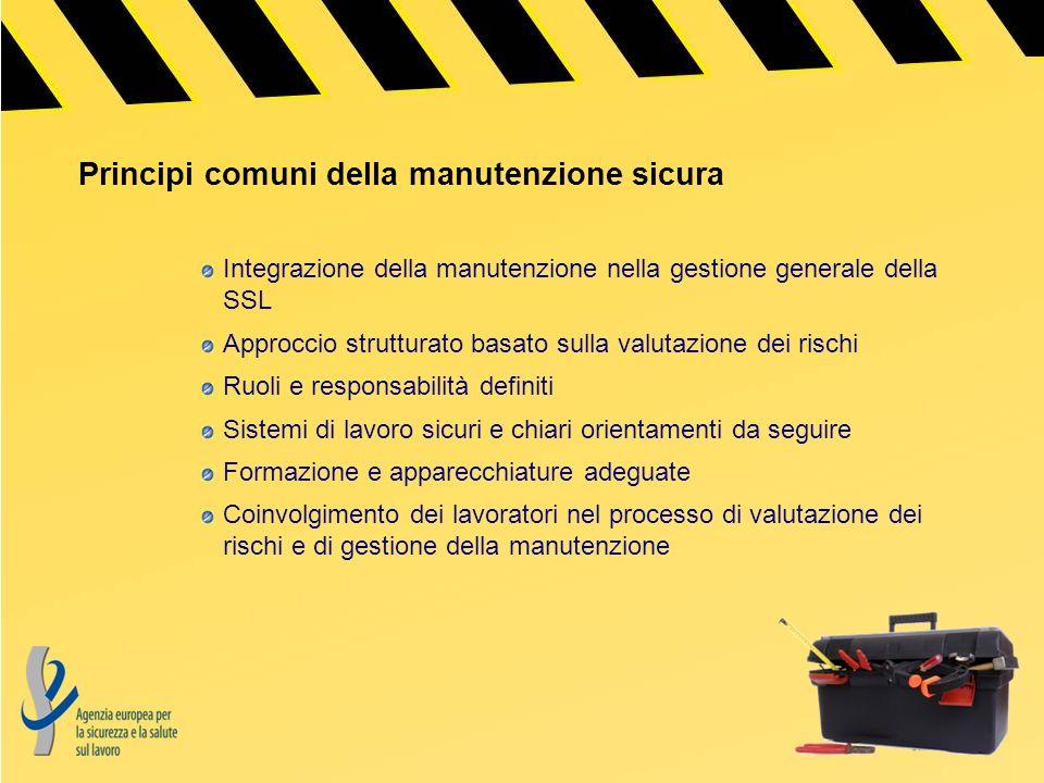 Principi comuni della manutenzione sicura Integrazione della manutenzione nella gestione generale della SSL Approccio strutturato basato sulla valutaz