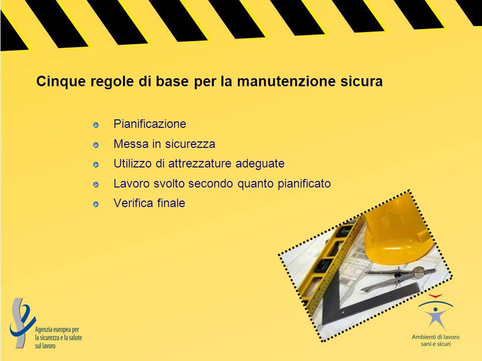 Cinque regole di base per la manutenzione sicura Pianificazione Messa in sicurezza Utilizzo di attrezzature adeguate Lavoro svolto secondo quanto pian