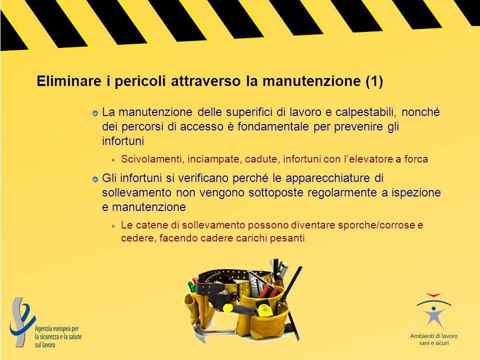 Cinque regole di base per la manutenzione sicura Pianificazione Messa in sicurezza Utilizzo di attrezzature adeguate Lavoro svolto secondo quanto pianificato Verifica finale