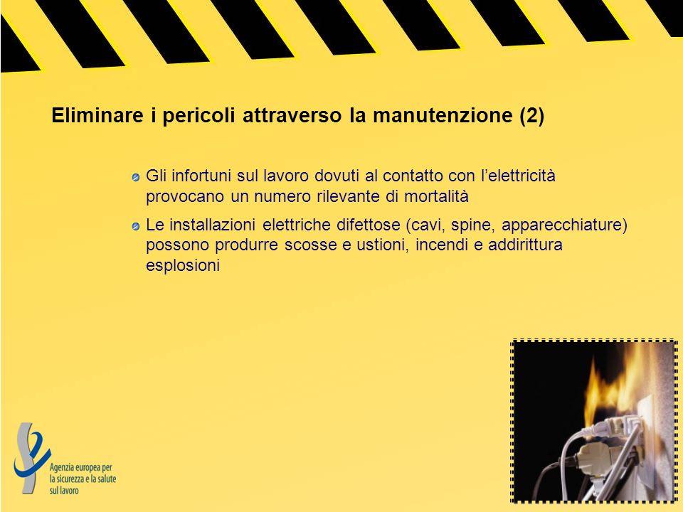 Eliminare i pericoli attraverso la manutenzione (2) Gli infortuni sul lavoro dovuti al contatto con lelettricità provocano un numero rilevante di mort