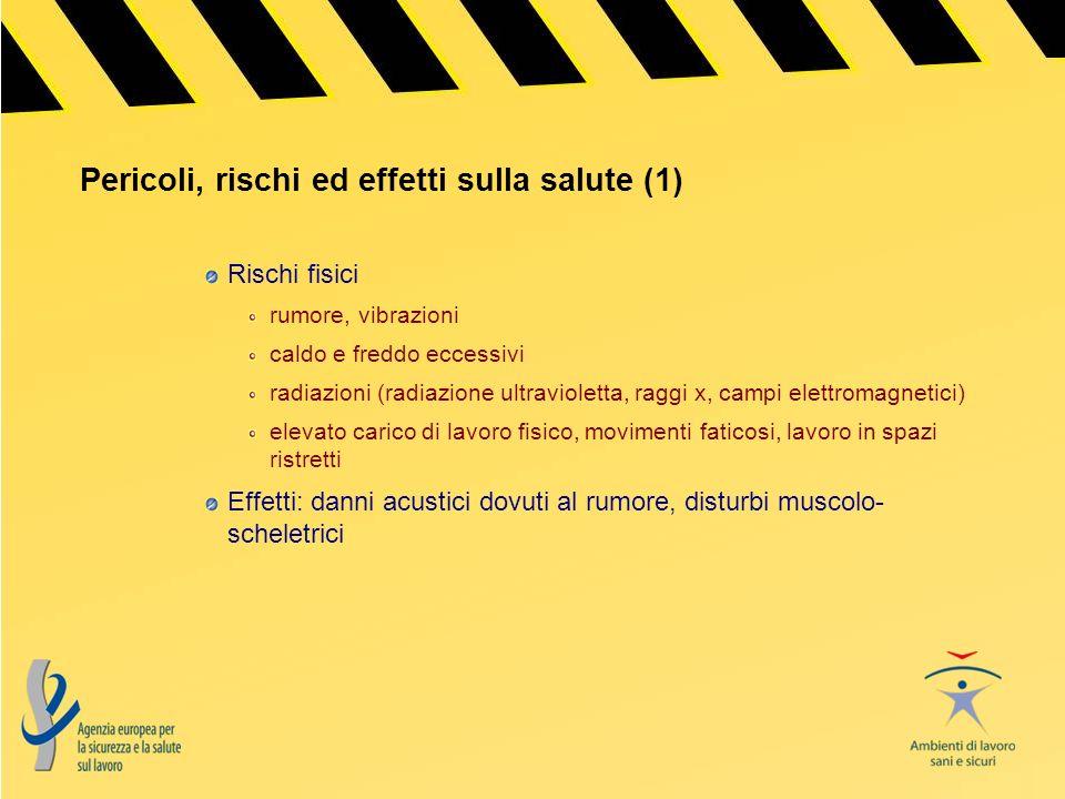 Pericoli, rischi ed effetti sulla salute (1) Rischi fisici rumore, vibrazioni caldo e freddo eccessivi radiazioni (radiazione ultravioletta, raggi x,