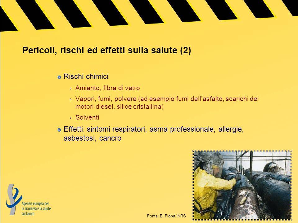 Pericoli, rischi ed effetti sulla salute (2) Rischi chimici Amianto, fibra di vetro Vapori, fumi, polvere (ad esempio fumi dellasfalto, scarichi dei m