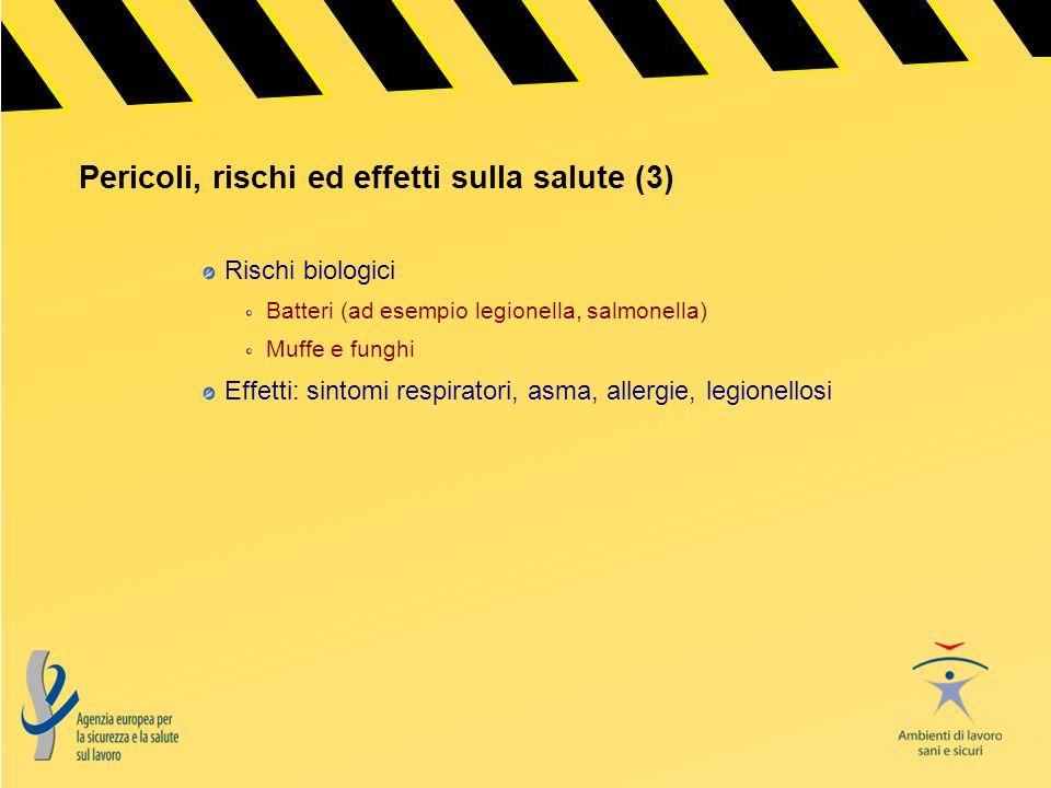 Pericoli, rischi ed effetti sulla salute (3) Rischi biologici Batteri (ad esempio legionella, salmonella) Muffe e funghi Effetti: sintomi respiratori,