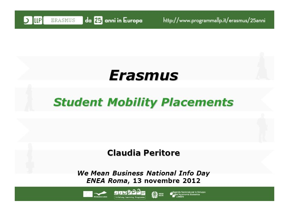 Erasmus Student Mobility Placements Claudia Peritore We Mean Business National Info Day ENEA Roma, 13 novembre 2012