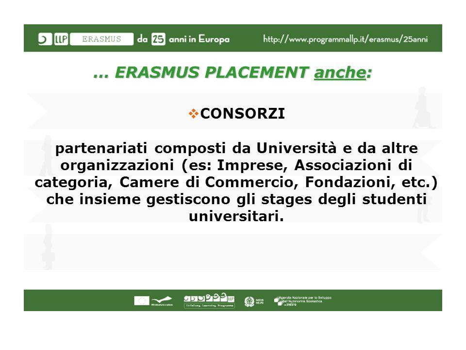 … ERASMUS PLACEMENT anche: CONSORZI partenariati composti da Università e da altre organizzazioni (es: Imprese, Associazioni di categoria, Camere di C