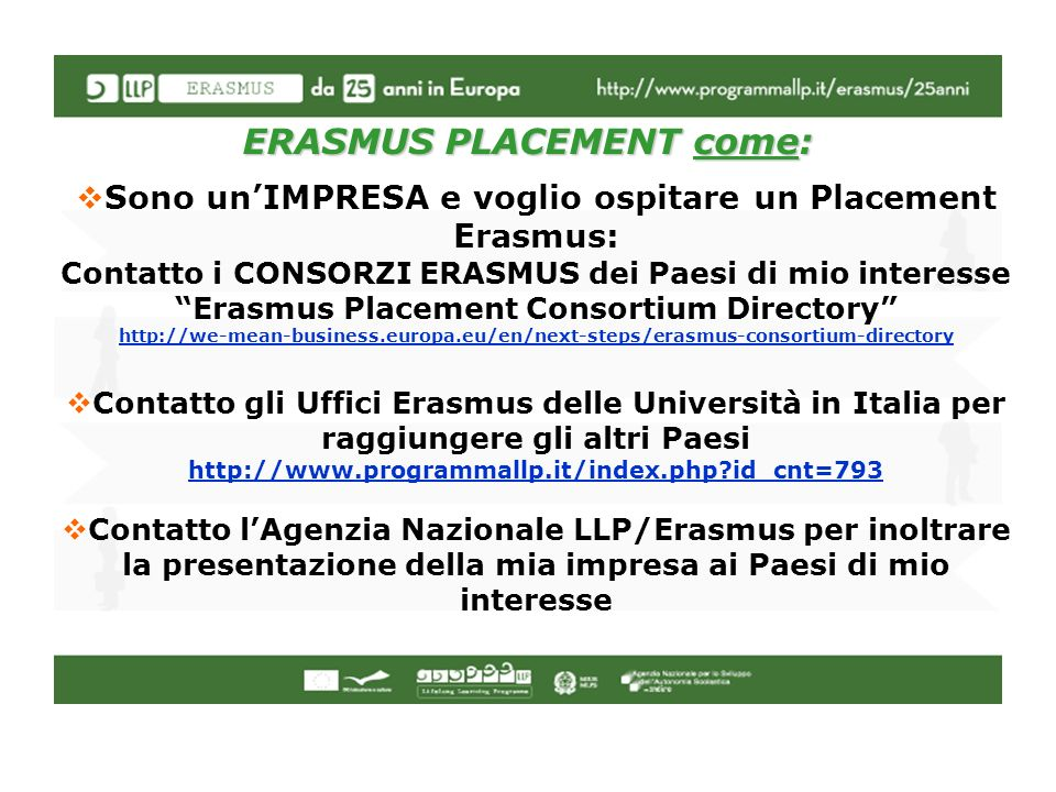 ERASMUS PLACEMENT come: Sono unIMPRESA e voglio ospitare un Placement Erasmus: Contatto i CONSORZI ERASMUS dei Paesi di mio interesse Erasmus Placemen