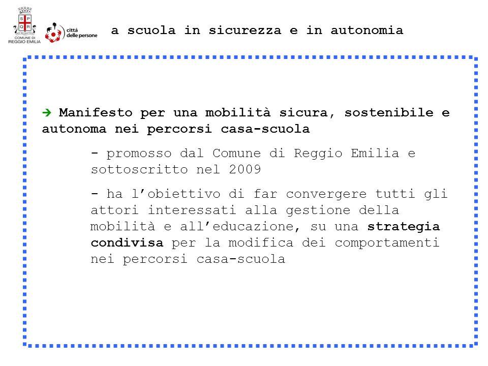 Manifesto per una mobilità sicura, sostenibile e autonoma nei percorsi casa-scuola - promosso dal Comune di Reggio Emilia e sottoscritto nel 2009 - ha lobiettivo di far convergere tutti gli attori interessati alla gestione della mobilità e alleducazione, su una strategia condivisa per la modifica dei comportamenti nei percorsi casa-scuola a scuola in sicurezza e in autonomia