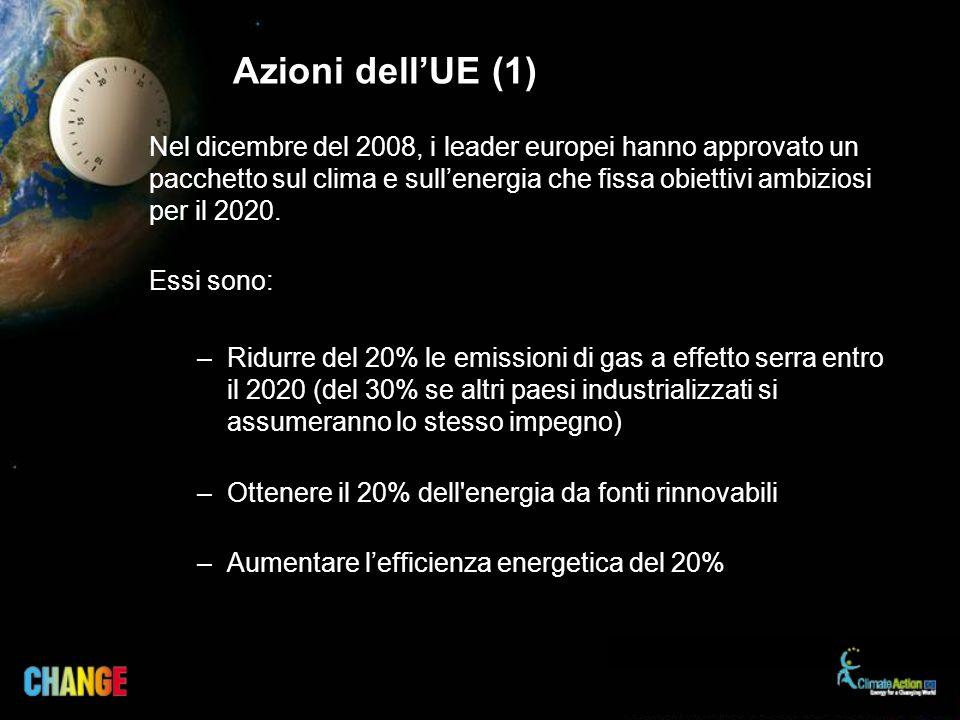 Nel dicembre del 2008, i leader europei hanno approvato un pacchetto sul clima e sullenergia che fissa obiettivi ambiziosi per il 2020. Essi sono: –Ri