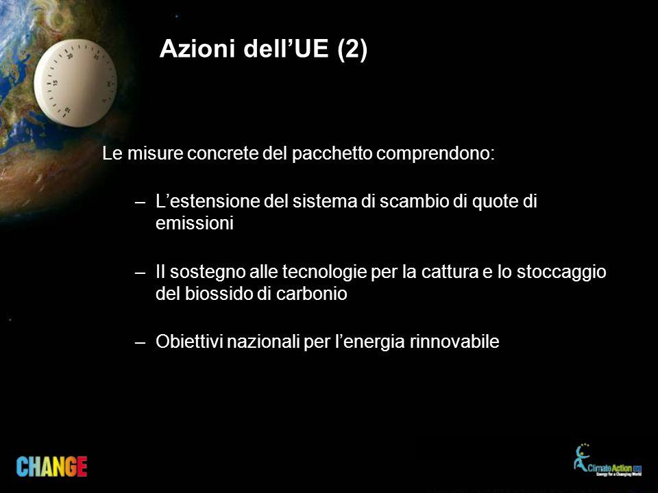 Azioni dellUE (2) Le misure concrete del pacchetto comprendono: –Lestensione del sistema di scambio di quote di emissioni –Il sostegno alle tecnologie