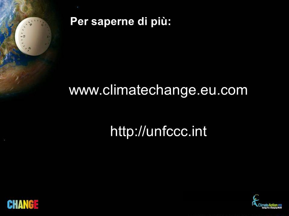 Per saperne di più: www.climatechange.eu.com http://unfccc.int