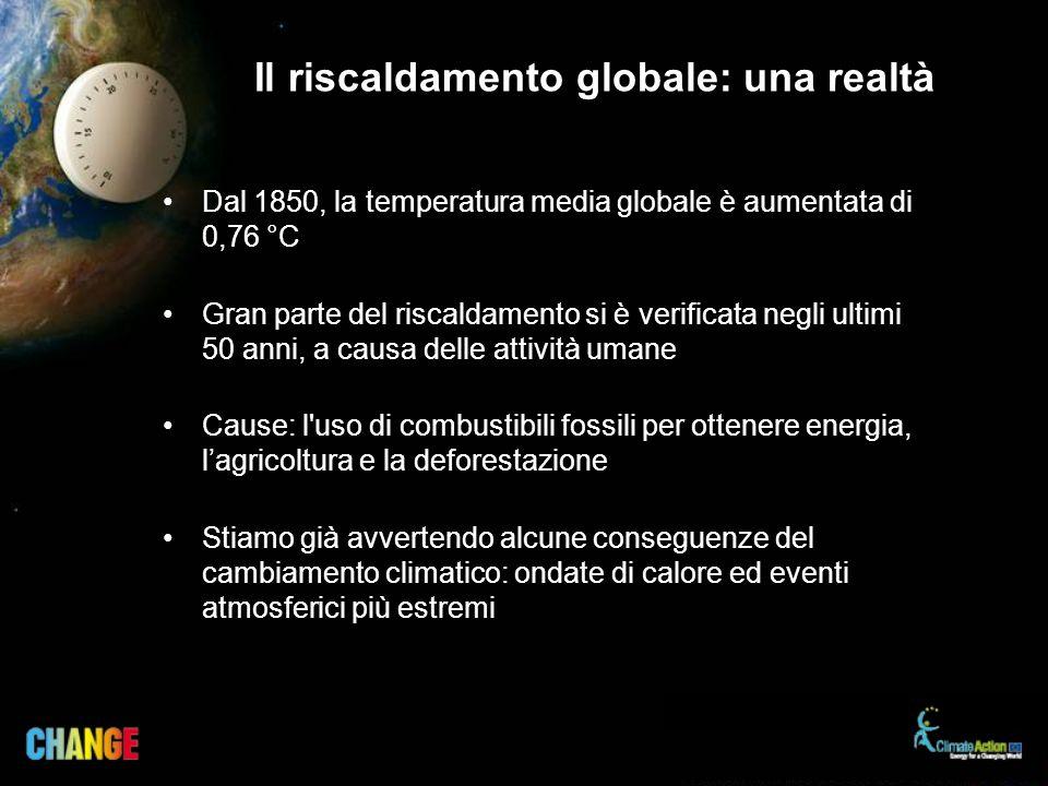 Dal 1850, la temperatura media globale è aumentata di 0,76 °C Gran parte del riscaldamento si è verificata negli ultimi 50 anni, a causa delle attivit