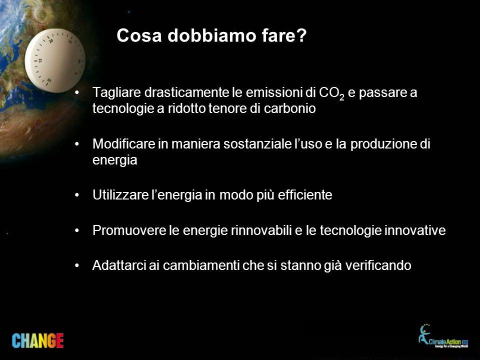 Cosa dobbiamo fare? Tagliare drasticamente le emissioni di CO 2 e passare a tecnologie a ridotto tenore di carbonio Modificare in maniera sostanziale
