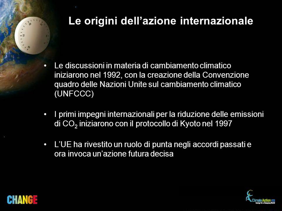Le origini dellazione internazionale Le discussioni in materia di cambiamento climatico iniziarono nel 1992, con la creazione della Convenzione quadro