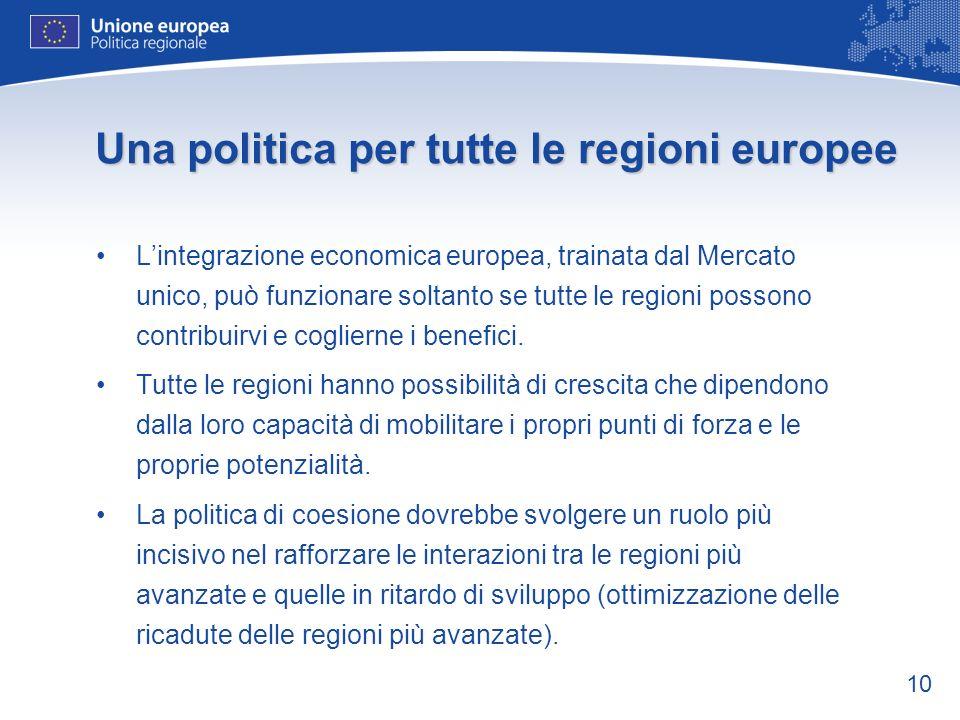 10 Una politica per tutte le regioni europee Lintegrazione economica europea, trainata dal Mercato unico, può funzionare soltanto se tutte le regioni possono contribuirvi e coglierne i benefici.
