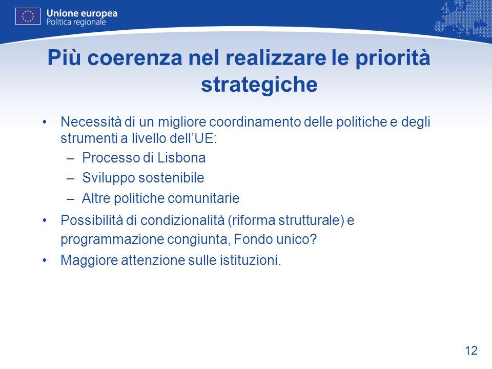 12 Più coerenza nel realizzare le priorità strategiche Necessità di un migliore coordinamento delle politiche e degli strumenti a livello dellUE: –Processo di Lisbona –Sviluppo sostenibile –Altre politiche comunitarie Possibilità di condizionalità (riforma strutturale) e programmazione congiunta, Fondo unico.