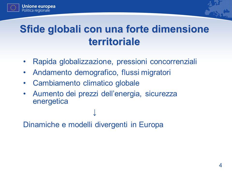 4 Sfide globali con una forte dimensione territoriale Rapida globalizzazione, pressioni concorrenziali Andamento demografico, flussi migratori Cambiamento climatico globale Aumento dei prezzi dellenergia, sicurezza energetica Dinamiche e modelli divergenti in Europa