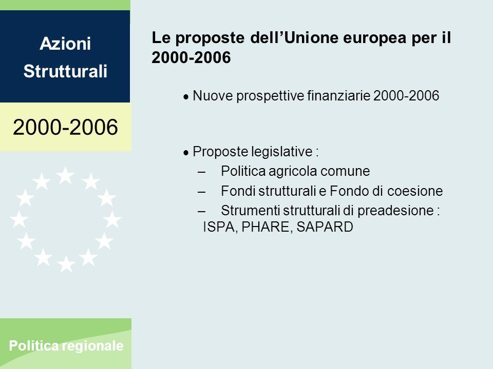 2000-2006 Azioni Strutturali Politica regionale Le proposte dellUnione europea per il 2000-2006 Nuove prospettive finanziarie 2000-2006 Proposte legislative : – Politica agricola comune – Fondi strutturali e Fondo di coesione – Strumenti strutturali di preadesione : ISPA, PHARE, SAPARD