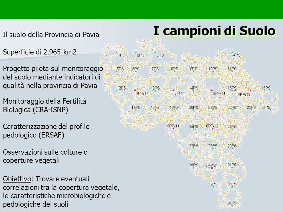 I campioni di Suolo Superficie di 2.965 km2 Il suolo della Provincia di Pavia Progetto pilota sul monitoraggio del suolo mediante indicatori di qualit