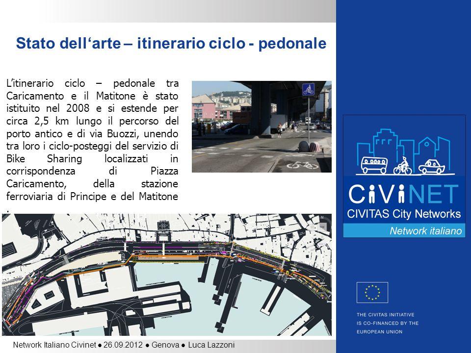 Network Italiano Civinet 26.09.2012 Genova Luca Lazzoni Stato dellarte – itinerario ciclo - pedonale Litinerario ciclo – pedonale tra Caricamento e il
