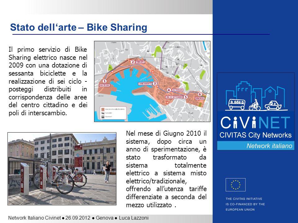 Network Italiano Civinet 26.09.2012 Genova Luca Lazzoni Stato dellarte – Bike Sharing Il primo servizio di Bike Sharing elettrico nasce nel 2009 con u