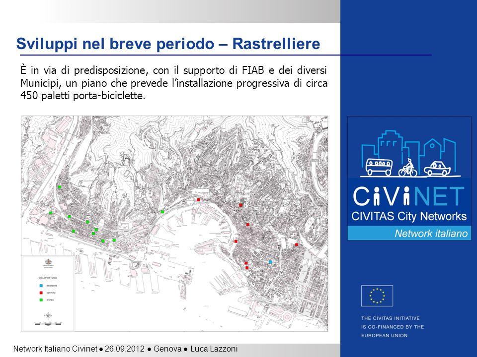 Network Italiano Civinet 26.09.2012 Genova Luca Lazzoni Sviluppi nel breve periodo – Rastrelliere È in via di predisposizione, con il supporto di FIAB