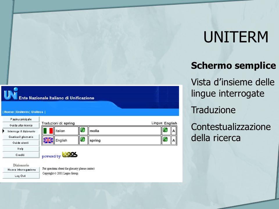UNITERM Schermo semplice Vista dinsieme delle lingue interrogate Traduzione Contestualizzazione della ricerca