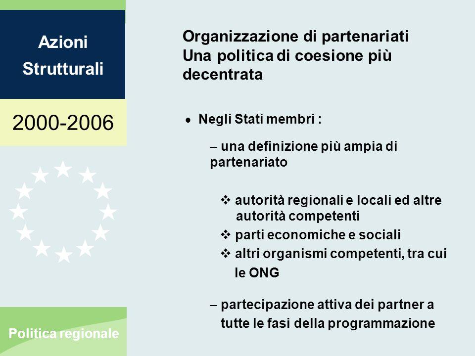 2000-2006 Azioni Strutturali Politica regionale Organizzazione di partenariati Una politica di coesione più decentrata Tra la Commissione e gli Stati membri – definire chiaramente le responsabilità dei 3 protagonisti : la Commissione lautorità che gestisce il programma il comitato di sorveglianza