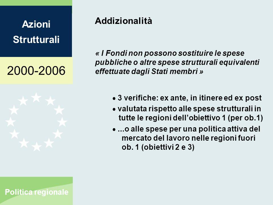 2000-2006 Azioni Strutturali Politica regionale Addizionalità « I Fondi non possono sostituire le spese pubbliche o altre spese strutturali equivalent