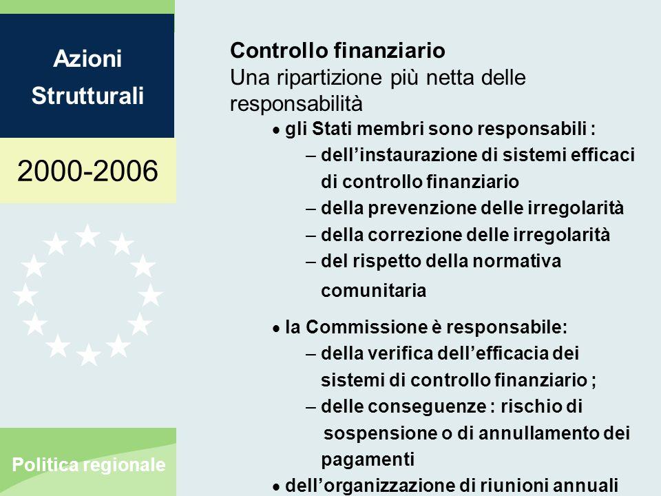 2000-2006 Azioni Strutturali Politica regionale Controllo finanziario Una ripartizione più netta delle responsabilità gli Stati membri sono responsabi