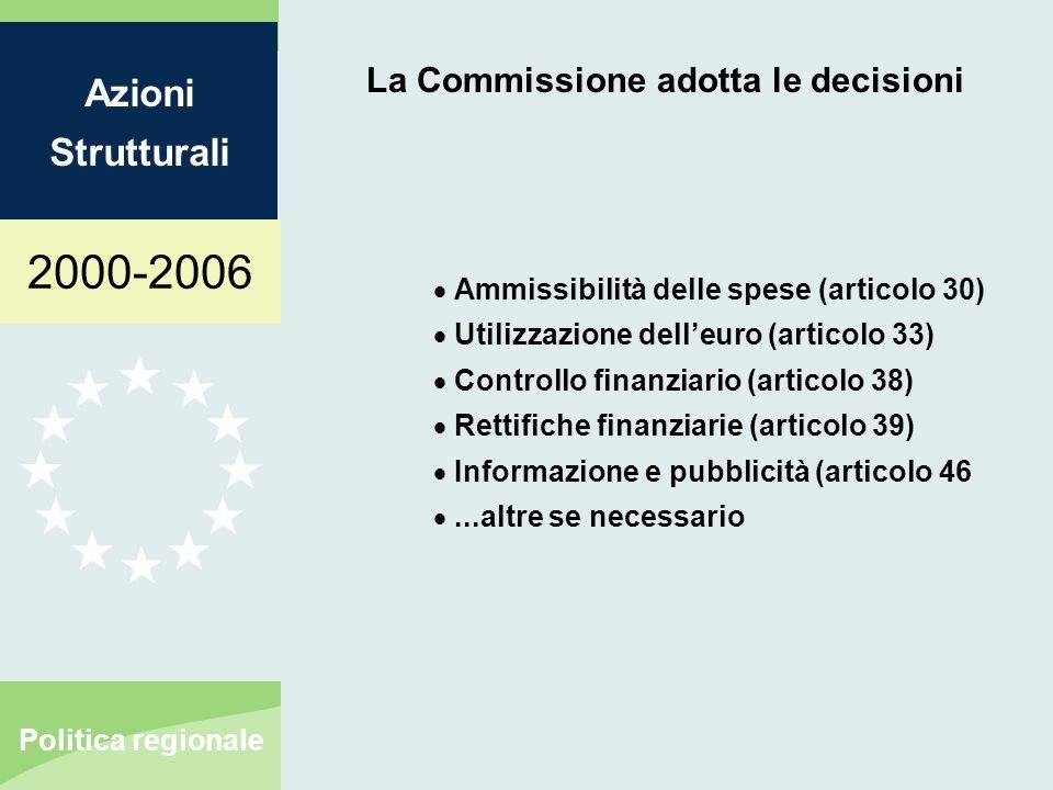 2000-2006 Azioni Strutturali Politica regionale La Commissione adotta le decisioni Ammissibilità delle spese (articolo 30) Utilizzazione delleuro (art
