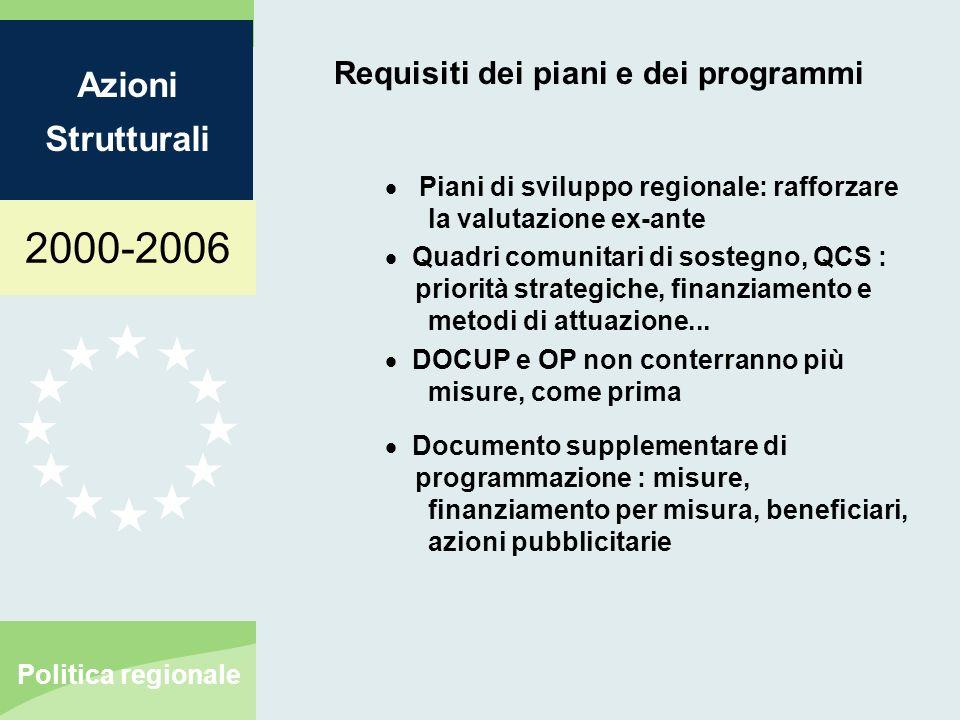 2000-2006 Azioni Strutturali Politica regionale Requisiti dei piani e dei programmi Piani di sviluppo regionale: rafforzare la valutazione ex-ante Quadri comunitari di sostegno, QCS : priorità strategiche, finanziamento e metodi di attuazione...