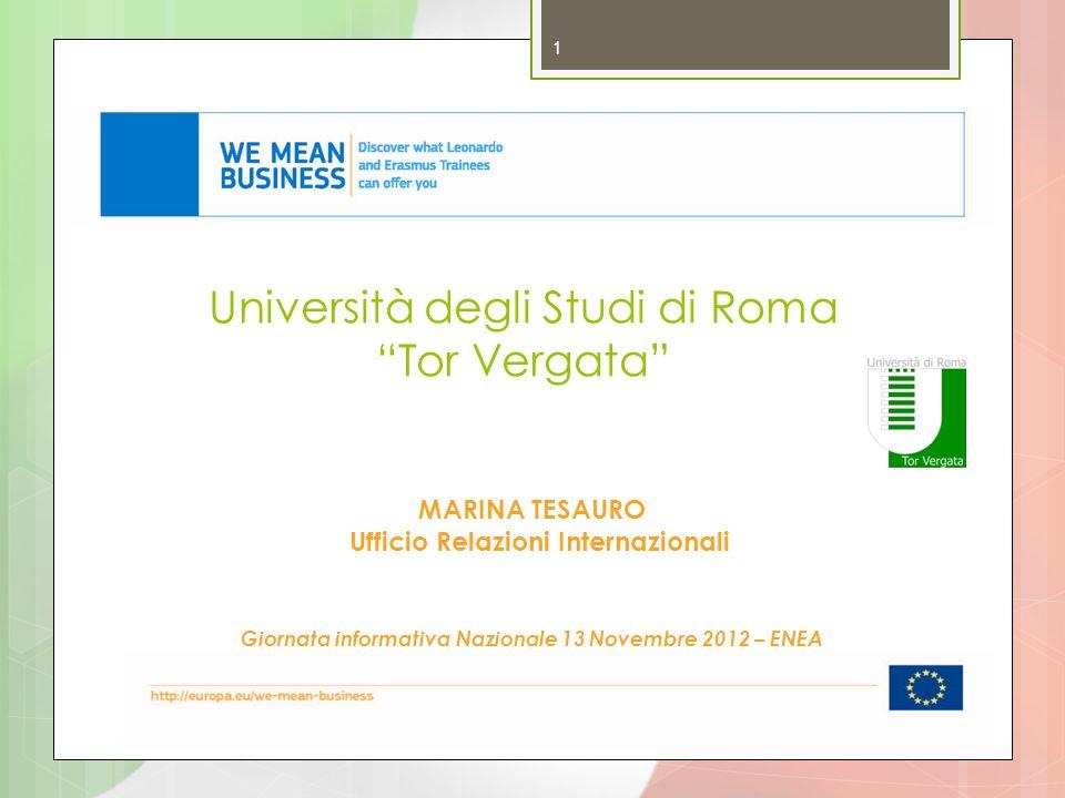 Università degli Studi di Roma Tor Vergata 1 MARINA TESAURO Ufficio Relazioni Internazionali Giornata informativa Nazionale 13 Novembre 2012 – ENEA