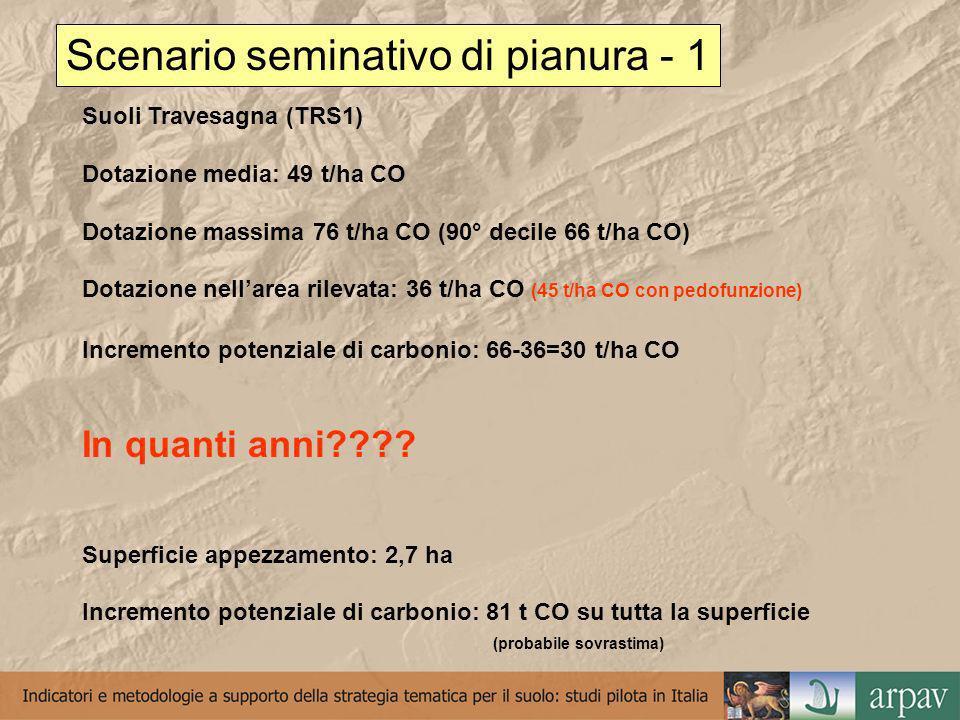 Scenario seminativo di pianura - 1 Suoli Travesagna (TRS1) Dotazione media: 49 t/ha CO Dotazione massima 76 t/ha CO (90° decile 66 t/ha CO) Dotazione nellarea rilevata: 36 t/ha CO (45 t/ha CO con pedofunzione) Incremento potenziale di carbonio: 66-36=30 t/ha CO In quanti anni .